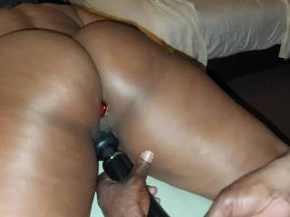 Threesome night cont\'d with wand play and a butt plug.