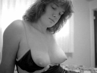 Wonderful pic, luv the shape of your round breasts and love to kiss and lick your hot nipples