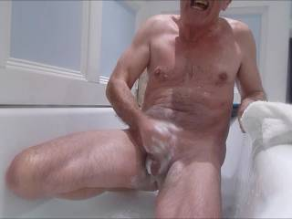 This made bath-time so much more fun. A soapy cock and a wank, wonderful