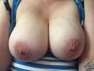 Mmmmm.  They look delicious.  Would love to suck on your nipples and watch them get erect.  Then stick my cock in between them and titty fuck you until I explode all over them