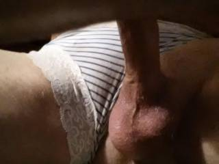 Jacking off wearing panties that were left in my drier, SWEET, with a dildo up my ass,nice 3-4ft cumshots. Does this turn any women on??