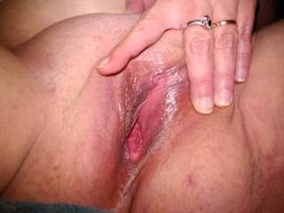 Wife spreading her wet pussy