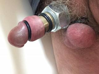 Cyborg cock wearing metal and rubber rings