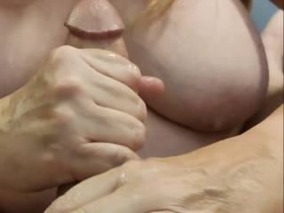 How about you unload your cock on my big married tits? Let me stroke your cock so you can can cover me with your love. Mmm...