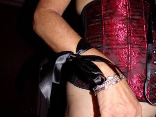 fun piece of lingerie. wrists tie at the hip