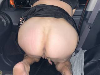 Showing me her ass like a good girl. I love it when she flashes me in the front seat of the car.