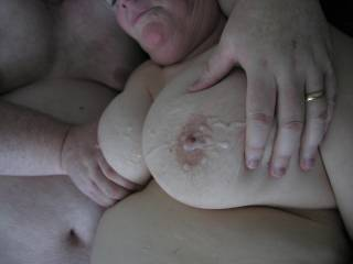 WOW looks almost as good there as it felt to cum all over her beautiful tits  Was an amazing time once again  Thanks to both  Heres to more fum when I get back town  :)