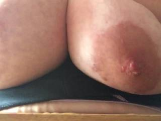 Wow, that's one seriously sexy video. Love your nipples, nice and hard, gorgeous big areolae.  I'd love to warm them up again for you, and I guarantee they'll stay hard.