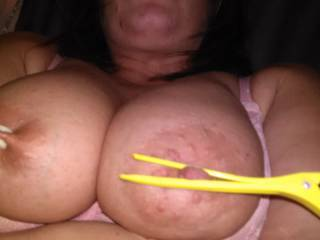 Mmm bind those big tits of hers and peg those big nipples, she has great udders for use