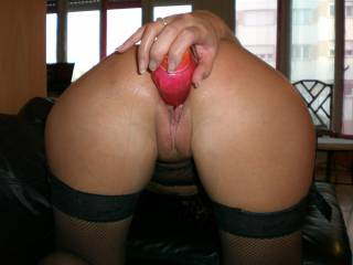She loves to fuck her pussy with her toy. Does she turn you on?