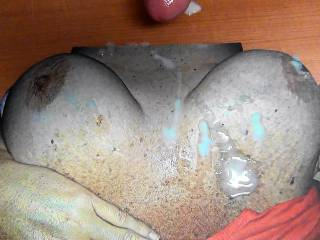 Just pumped my cumload on jonsongs sweet cummy tits! She is hot!