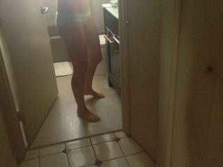 Just a quick pic of wife getting ready for work after sex.