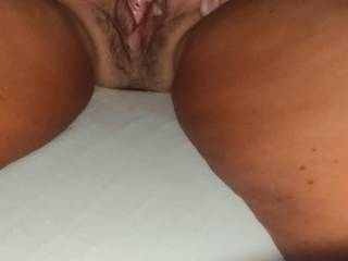 Close up my wife's gaping pussy with my hands