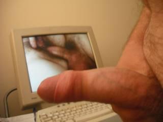 Wanking to hardcore porn