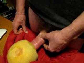 """Such a strong vacuum effect - can't get my swollen 8"""" dick out of it at the end! Moaning and cumming into a fruity melon - an incredible juicy vacuum effect... tribute to all the willing milf, throating and gagging assfucking girls on Zoig ;-)"""