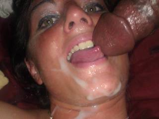 watching my girl finish off sucking a nice bbc while we both douse her with cum. She love every last drop. She said thats not enough! She want more!