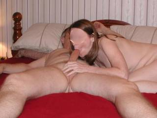Getting some hot sucking, filling her mouth with my hard cock.