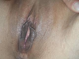 Magnificent! Ooh those delicious dark labia, that clit and not to mention your tight little ass, in my mouth, now!