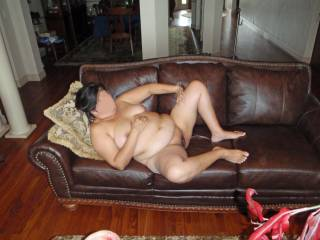 Legs spread and pussy is wide open!  Now I need a hard throbbing cock!