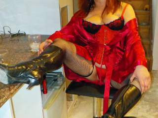 Having fun with another photoshoot for Halloween in my Lil Red Devil Outfit hope you like?