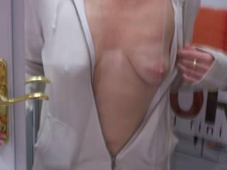 Slutwife Jen showing some tit at Home Depot