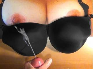 Second cum bra tribute to Sweet T's sweet tits and black bra. Jerked my cock hard to cum on her sexy bra!