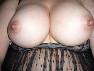 Sensational tits, babe, I'd love to lick and suck them and then fuck them with my big prick!!!