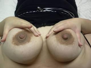 big, dark nipples on my DD tits