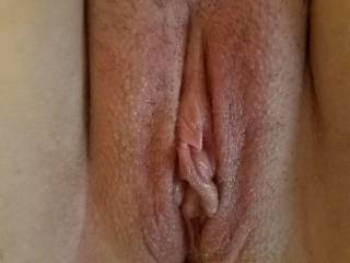 wifes shaved pussy ready for some cock