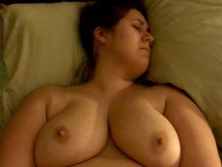 i love cumming on her big boobs. she's about to cum playing with her toy