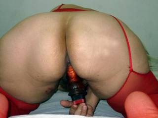 Red lingerie and red dildo
