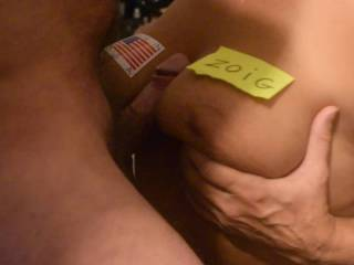 Tit fuck hubby left a mess on my tits.