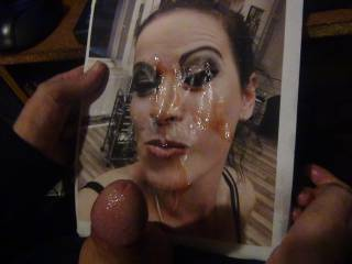 for Nik80 and Gabby per request we jack off on her hot face covering it in cum missmanders finger paints with sperm! whos next?