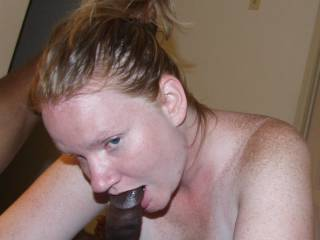 Wife giving me a blowjob after our theme pics