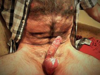 ........even after I cum, I like to play and mess myself up with my spunky cock...