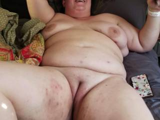 freshly fucked wife lies there with a pussy full of cum