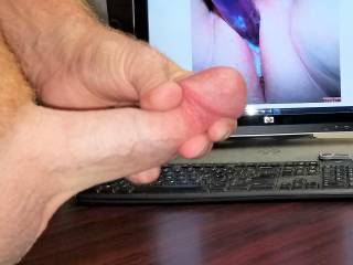 Stroking my hard cock to watchingyouplay's tasty pink spread creamy pussy! Love her squirt vids! Love seeing her pussy cum!