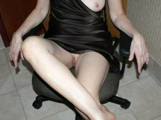 Yes I enjoy any view of you sweetie.  I would love to see you scoot your sexy ass forward a little on the seat and place each leg over the arm rests exposing your beautiful treasure.....and expose both breasts.  Mmm that would be mouthwatering.  G