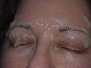 3 of 3 shots: this is what happens when you are really turned on by a Lady\'s sexy eyebrows and she asks for you to cum on her face!