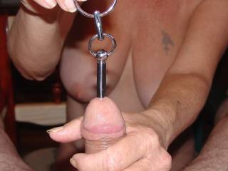 One of five pics of my girlfriend stuffing my cock with my newest sound. She enjoys Sounding me almost as much as I enjoy her doing it to me. What do you think??