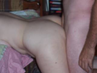 Fucking me from behind and deep.  Filling my pussy