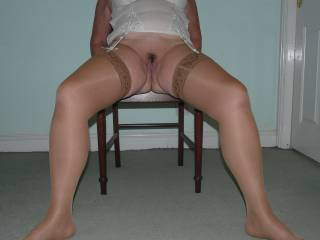 White basque, thong and tan lacy top stockings - lost the thong!
