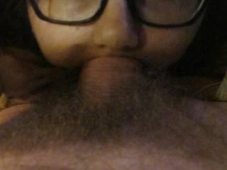 deepthroat pov cutie eyes glasses all way