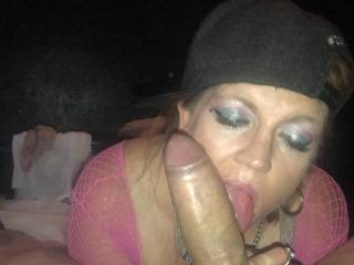 Sucking my dick at the porn shop
