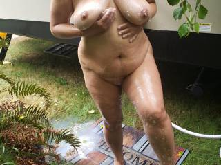 We love our outdoor shower on our travel trailer