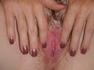 That beautiful pink hairy pussy, Id love to till you cum manytimes !!!!!