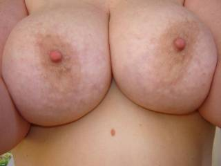 Mmm, I'd love to take those beauties in my hands and let my lips and tongue play and suck on your hard nipples