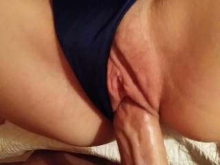 Just WOW.  The combination of her amazing pussy lips, and those sexy panties left on and pulled just to the side of them are absolutely positively out of this world. My cock exploded about 10 seconds into watching :)