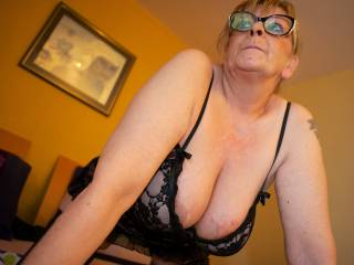 Mature friend posing in sexy lingerie