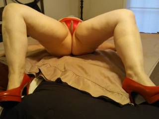 Spreading my luscious legs to expose my wet, tight pussy that throbs when it gets ready to take in my man's hard, thick, and juicy cock! Of course, I loved it licked first! (I have a video to prove it.)